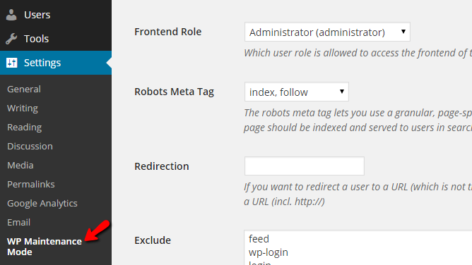 accessing the plugin page