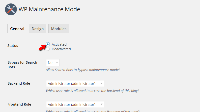 activating the maintenance mode