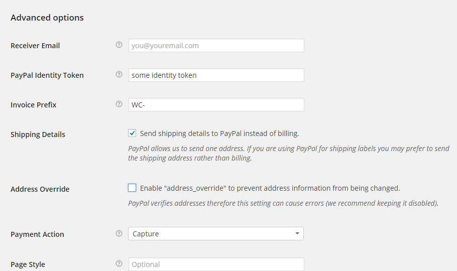configuring the paypal advanced options