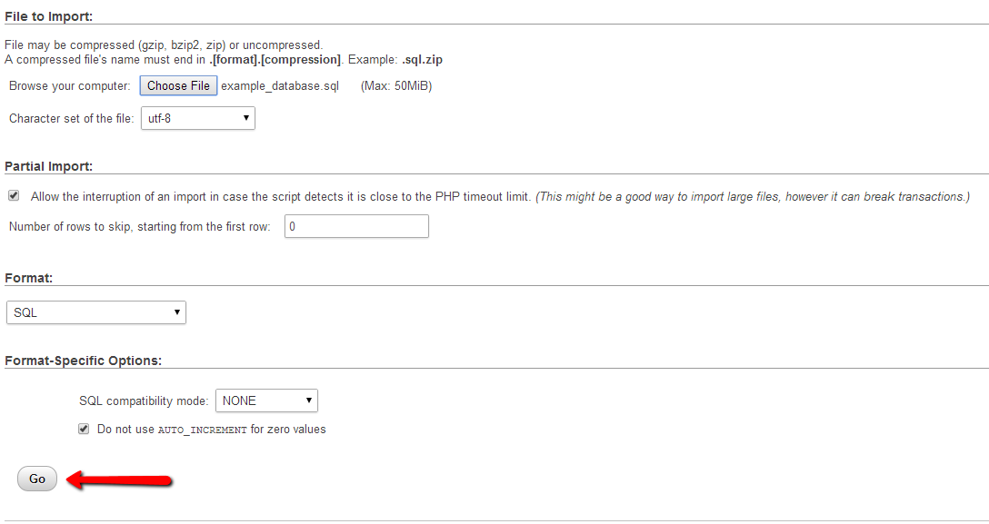 choosing the database file