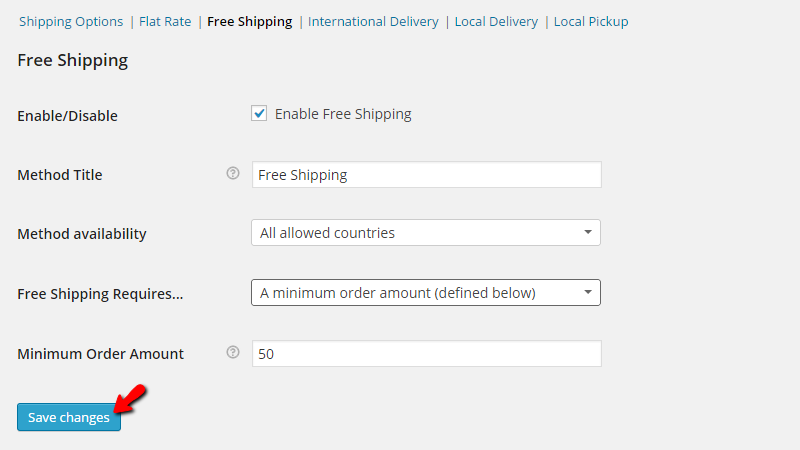 configuring the free shipping method
