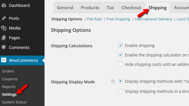 accessing the shipping options page