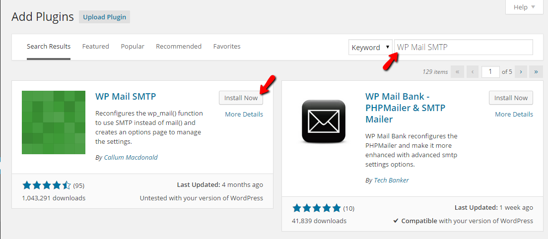 installing the wp mail smtp plugin