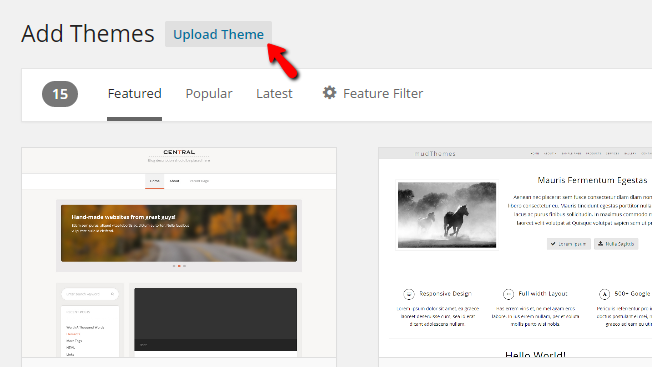 uploading a new theme
