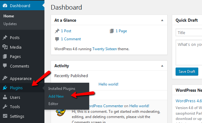 Adding a new plugin in WordPress