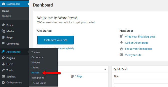 Access the header customization page in WordPress