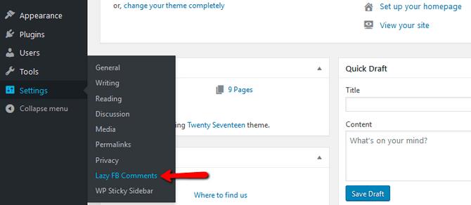 Access the Lazy Social WordPress Plugin Settings