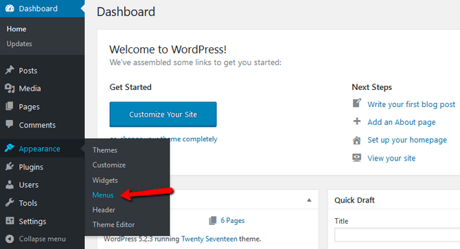 Access the Menu Interface in WordPress