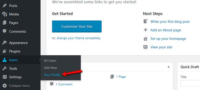 Access the Profile Settings-in-wordpress