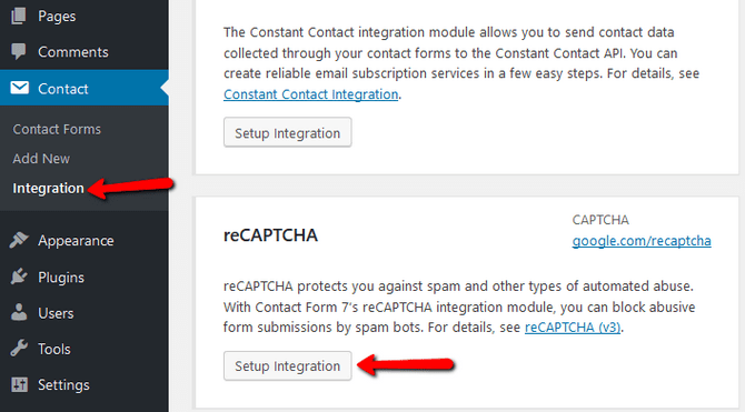 Access the WordPress Contact Form Integration with reCAPTCHA Menu