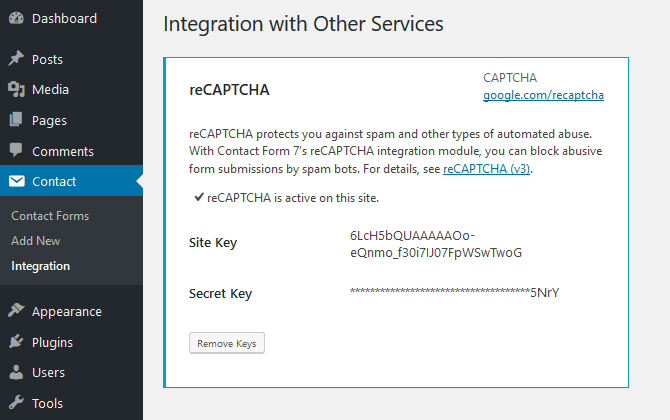 Activate reCAPTCHA on WordPress Contact Form