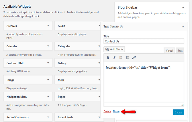Add Contact Form Shortcode to a Text Widget in WordPress