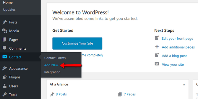 Add a new Contact Form in WordPress