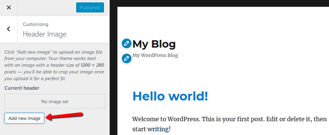 Add new header image in WordPress
