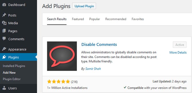 Add the Disable Comments Plugin to WordPress