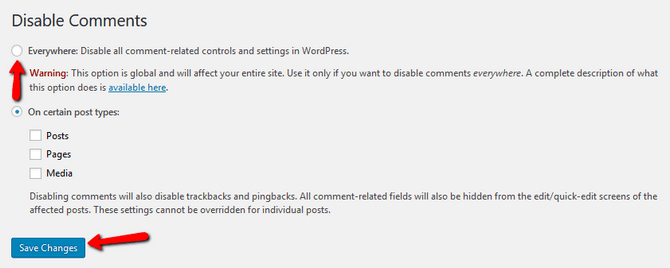Configure the Disable Comments Plugin in WordPress