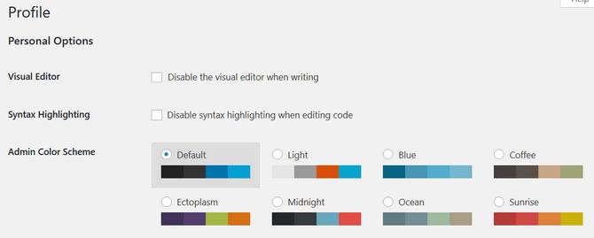Configure Visual and Editing Settings in WordPress Profile