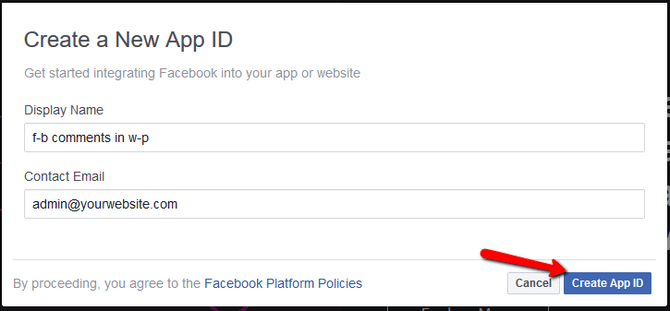 Create App ID via the Facebook Developers Dashboard