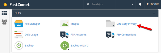 accessing the cPanel Directory Privacy feature