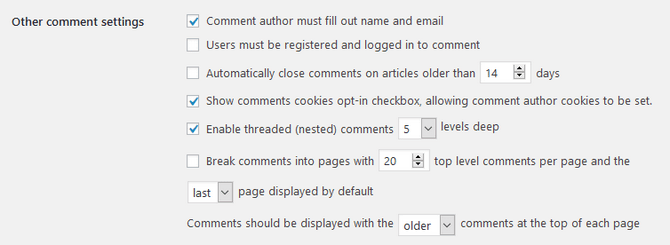 Display and Behavior Comment Settings in WordPress