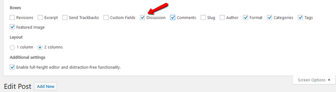 Enable the Discussion Screen Options