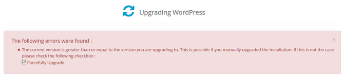 Forcefully Update WordPress in Softaculous