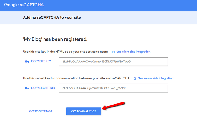 Generate the Site and Secret Keys for reCAPTCHA Integration