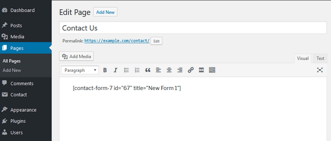 Include the Contact Form Shortcode in WordPress-page