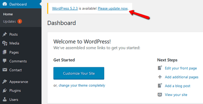 Initiate the 1-click Update Process in WordPress