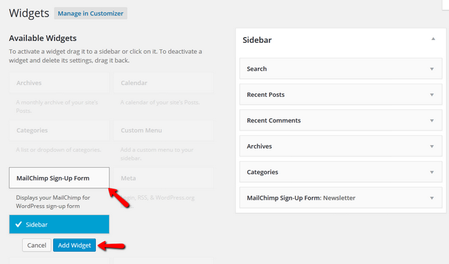 Adding MailChimp Widget to Sidebar