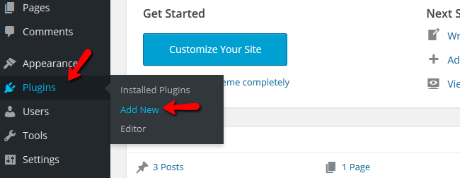 Accessing the Plugin installer menu in WordPress