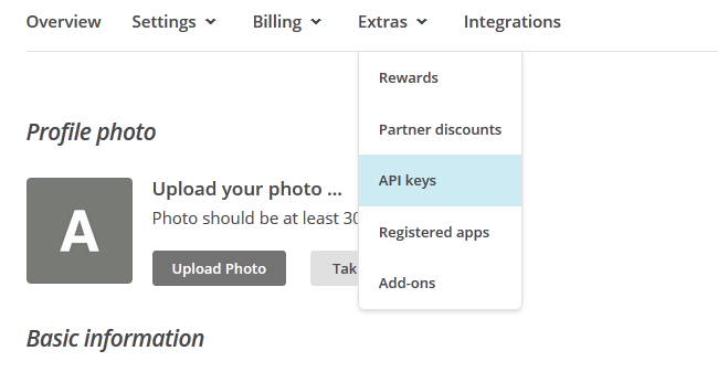 Navigating to the API keys section of the MailChimp dashboard