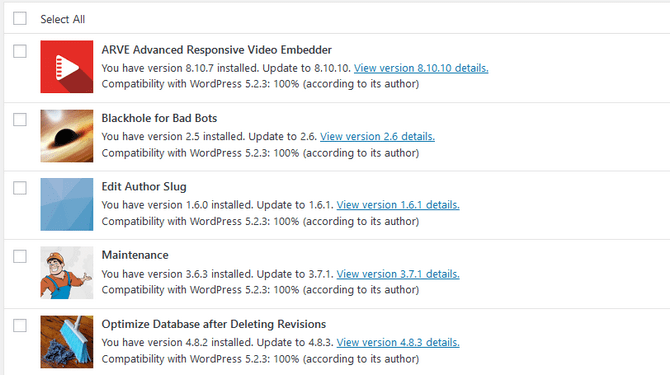 Overview of Available Updates for WordPress Plugins