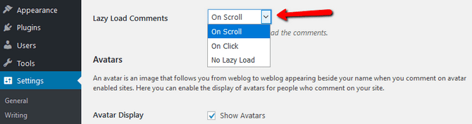 Select Lazy Load Comments Type in WordPress