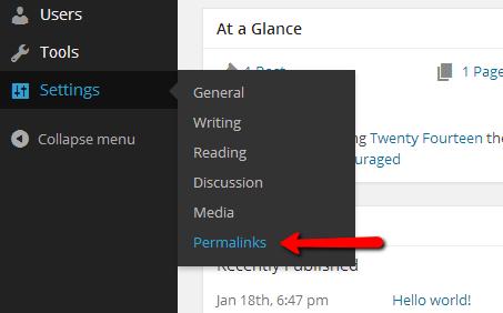 wordpress permlinks settings