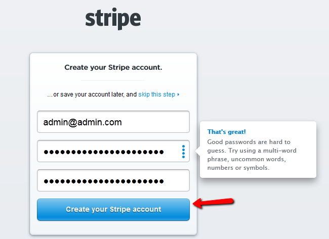 Create your Stripe account