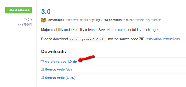Donwloading the latest VersioPress build from GitHub