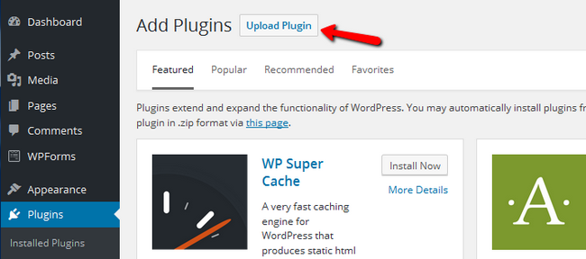 Uploading a new Plugin in WordPress