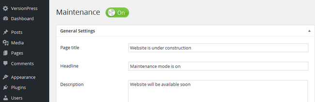 Enabling Maintenance mode for WordPress