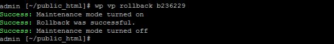 Using the WP-CLI command wp vp rollback