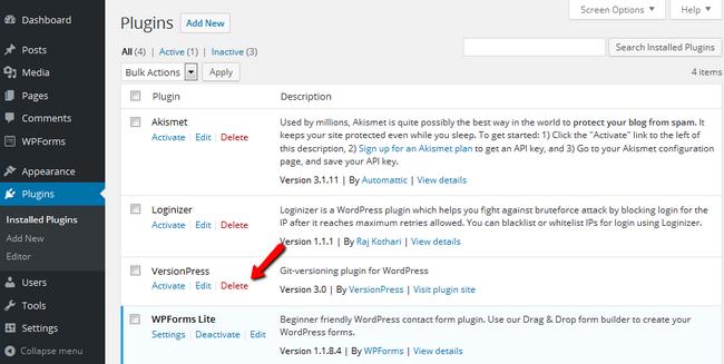 Deleting the VersionPress plugin from WordPress