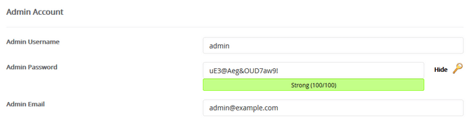 WordPress admin account configuration in Softaculous