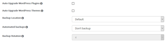 WordPress auto upgrade and backup settings in Softaculous