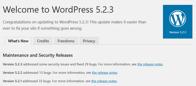 WordPress completing an Automatic Update to Latest Version