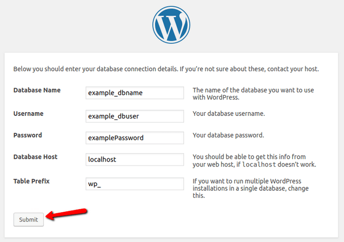 WordPress database confguration in manual install
