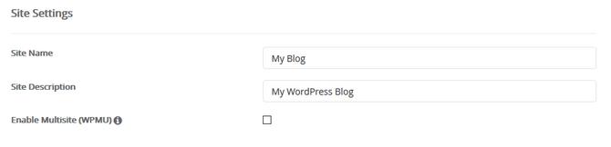 WordPress site settings in Softaculous