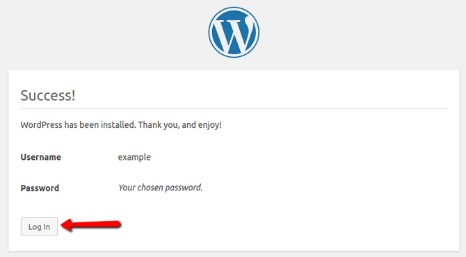 WordPress successful manual installation
