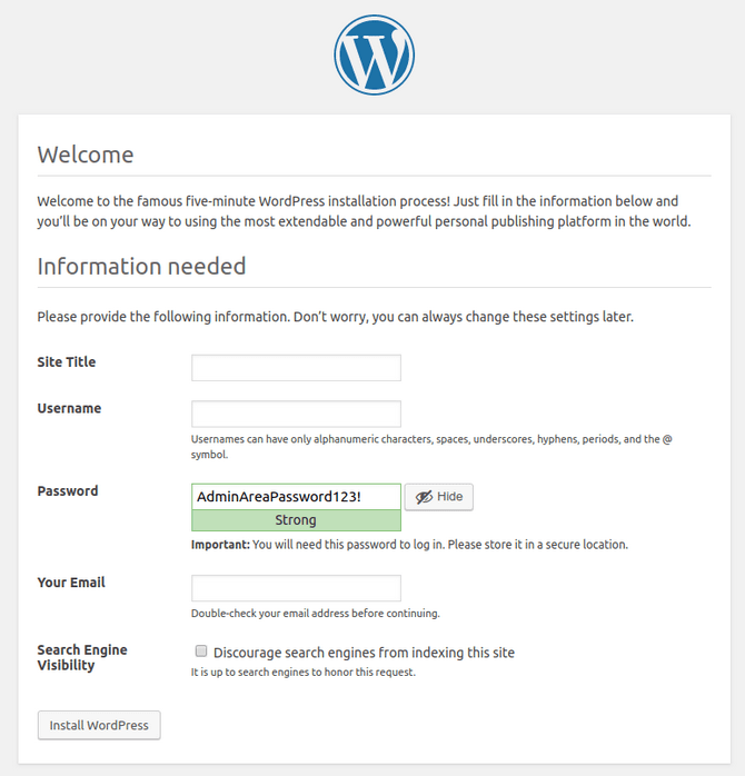 WordPress website and admin settings in manual install
