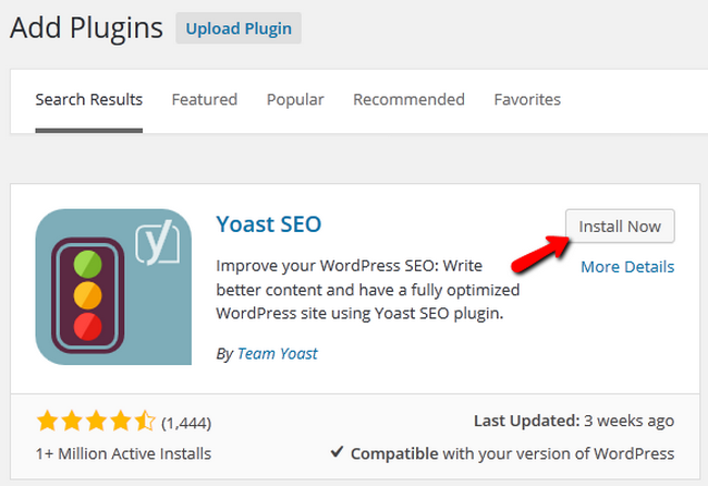 Searching and initiating the Install of Yoast SEO