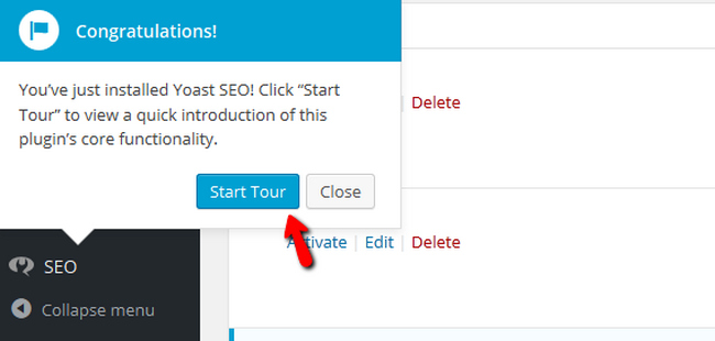 Starting a Tour in Yoast SEO